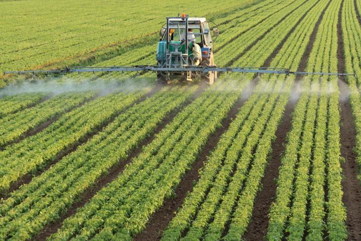 fertilizante, campo, tractor,